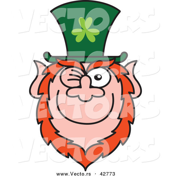 Vector of a Happy St. Paddy's Day Cartoon Leprechaun Winking and Smiling