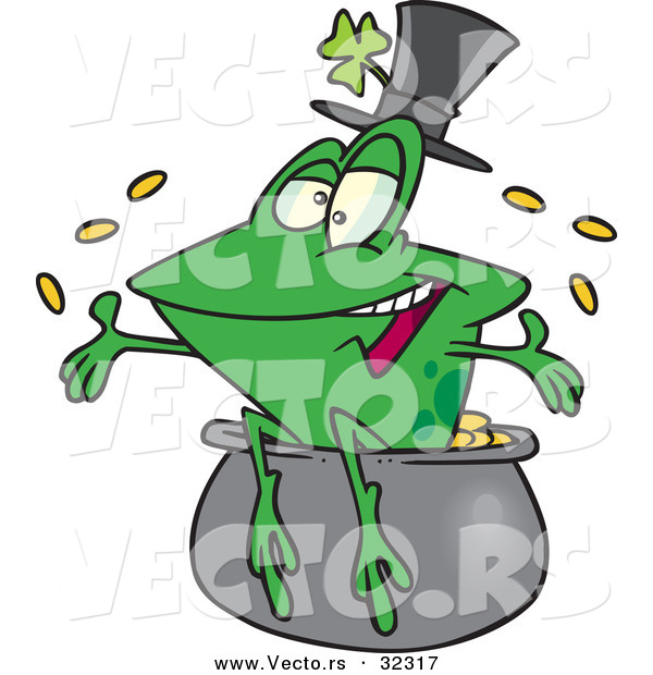 Vector of a Happy St. Patrick's Day Cartoon Frog Tossing Gold Coins into the Air from a Pot