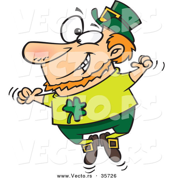 Vector of a Happy St. Patrick's Day Cartoon Leprechaun Joyfully Jumping up and down