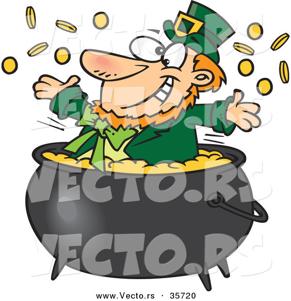 Vector of a Happy St. Patrick's Day Cartoon Leprechaun Playing in a Pot Full of Gold