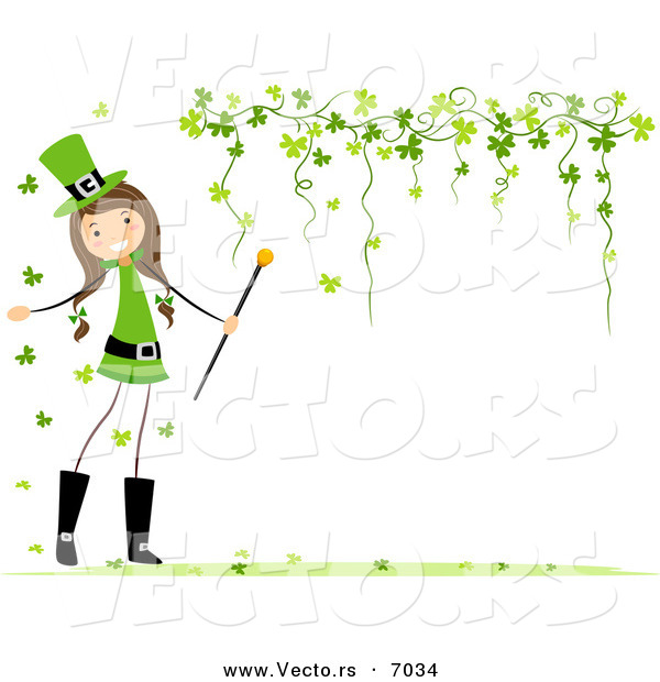 Vector of a Happy St. Patrick's Day Girl Beside a Blank Background with Clovers Forming a Border