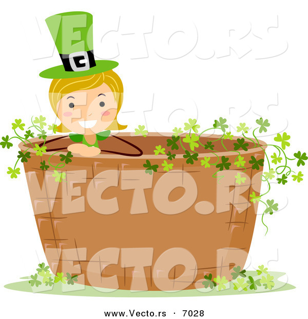 Vector of a Happy St. Patrick's Day Girl Standing in a Basket Full of Clovers