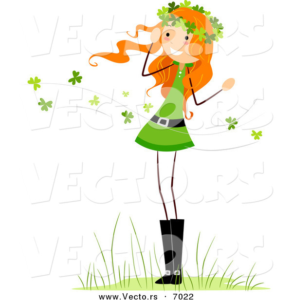 Vector of a Happy St. Patrick's Day Girl Standing Within Clovers Blowing All Around Her