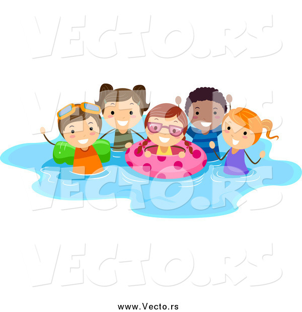 Vector of a Happy Summer Stick Kids Playing in a Pool