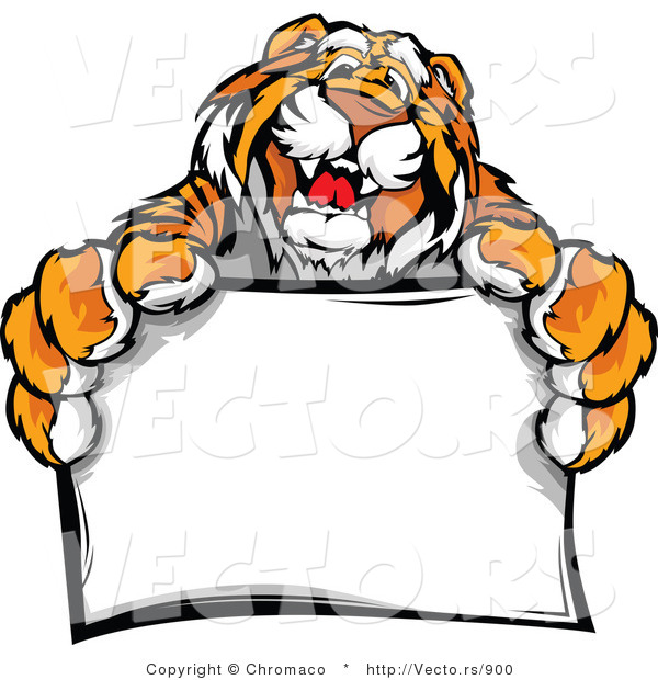 Vector of a Happy Tiger Mascot Holding a Blank Sign