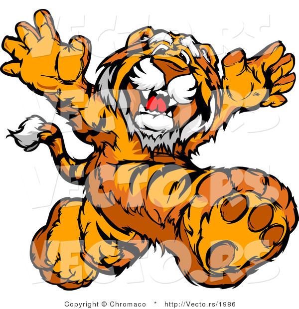 Vector of a Happy Tiger Mascot Running Around in a Playful Manner