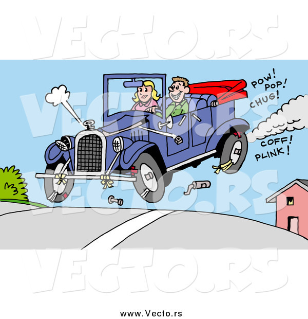 Vector of a Happy White Man and Woman Catching Air in Their Convertible Antique Car, Pieces of It Falling off