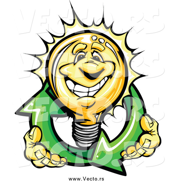 Vector of a Happy Yellow Light Bulb Character Holding Renewable Solar Energy Arrows