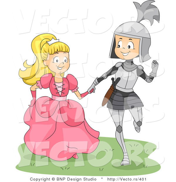 Vector of a Happy Young Knight and Princess Walking Together