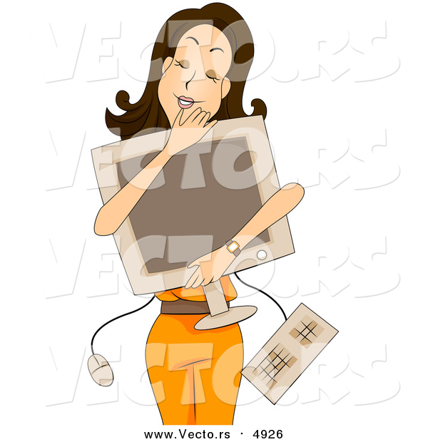 Vector of a Happy Young Lady Hugging Her Personal Computer - Cartoon Style