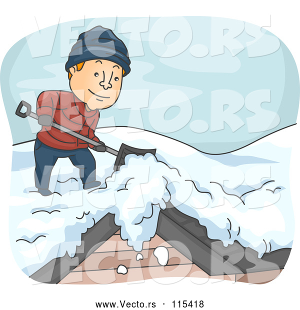 Vector of a Happy Young Man Shoveling Snow off Roof in Cold Winter Weather