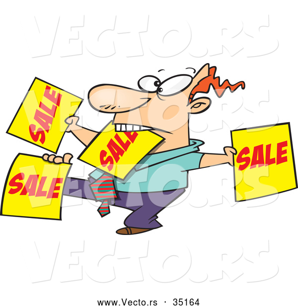 Vector of a Hard Working Cartoon Salesman Advertising Lots of 'SALE' Signs