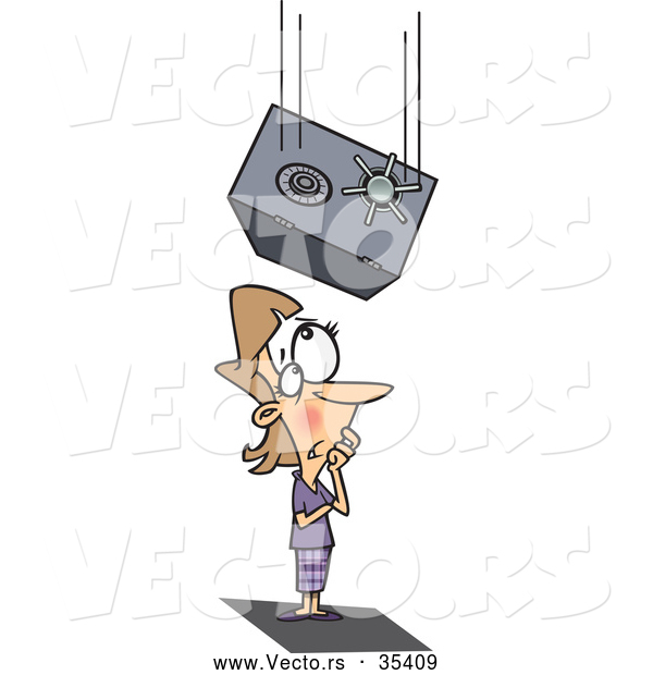 Vector of a Heavy Cartoon Safe Falling on a Businesswoman's Head