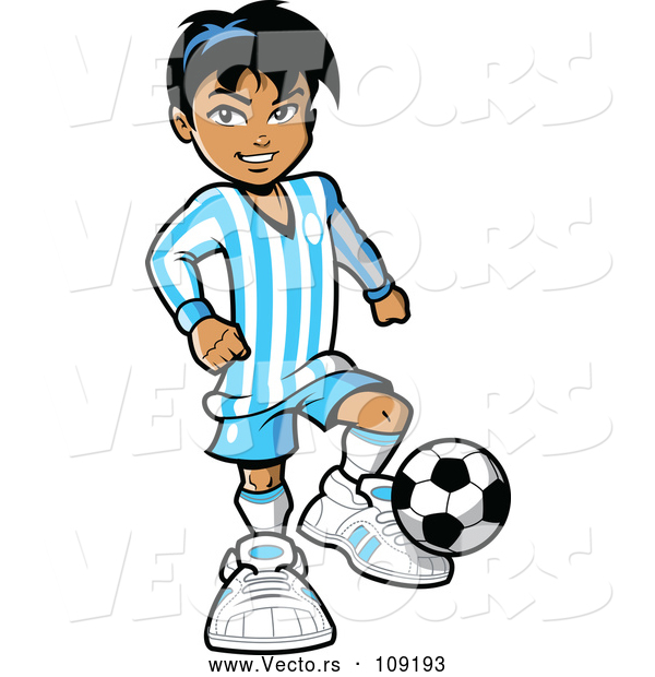 Vector of a Hispanic Kid Playing Soccer