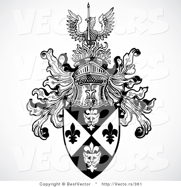 Vector of a Historic Black and White Knight Helmet Above Shield with a Phoenix Bird