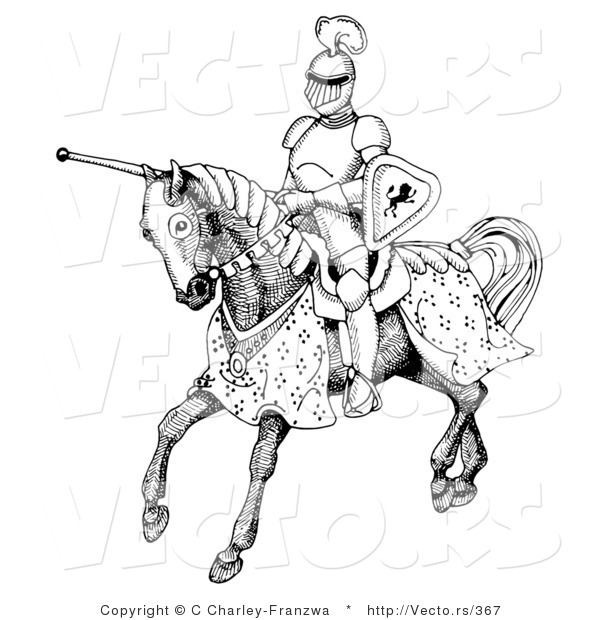 Vector of a Historic Black and White Knight Jousting on Horse