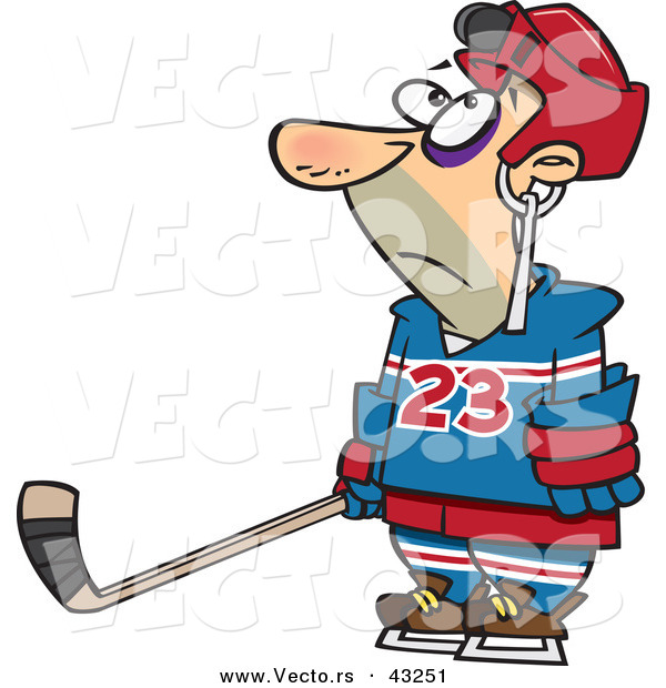 Vector of a Hockey Player with a Puck Stuck in His Helmet