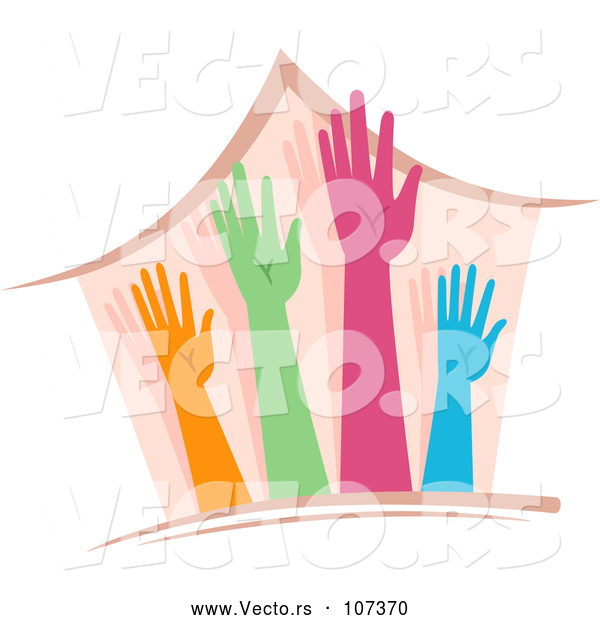 Vector of a Home with 4 Different Colored Hands and Arms Reaching Upwards