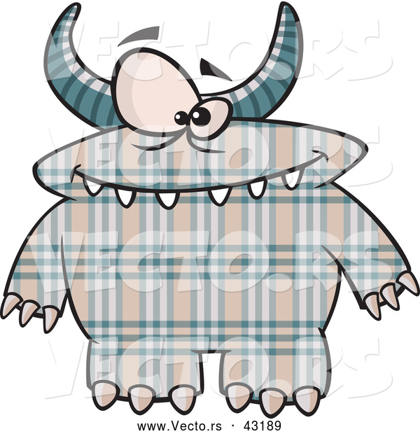 Vector of a Horned Cartoon Plaid Monster with Spots