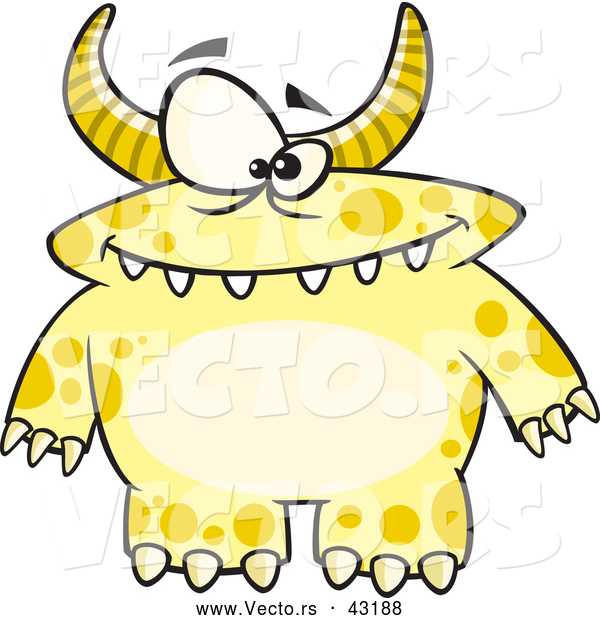 Vector of a Horned Cartoon Yellow Monster with Spots