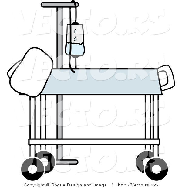 Vector of a Hospital Gurney Beside IV Stand in a Medical Room