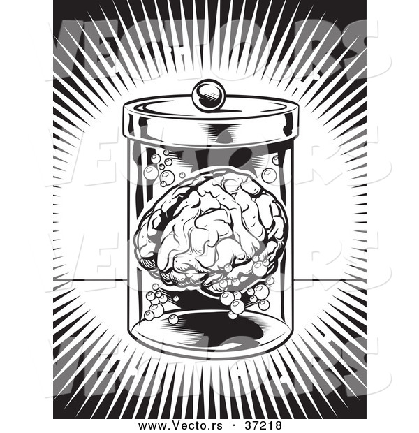 Vector of a Human Brain in a Jar - Black and White Art