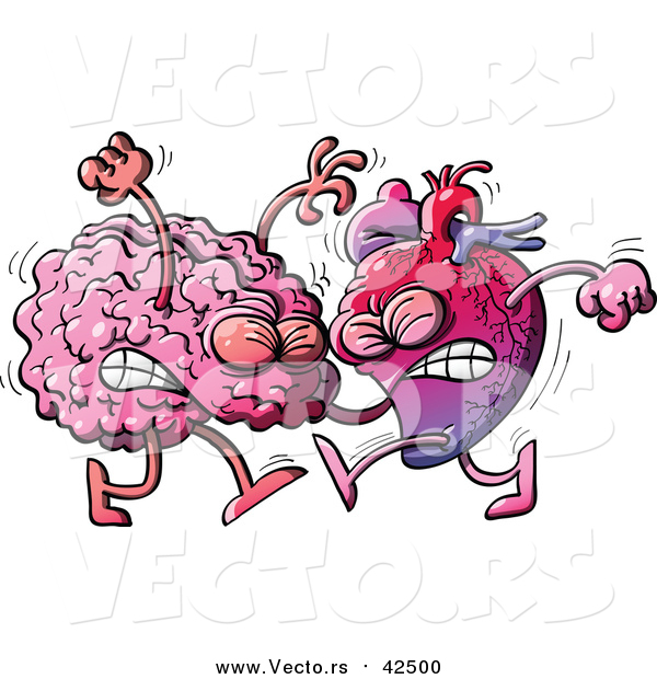 Vector of a Human Heart Character Fighting with a Brain