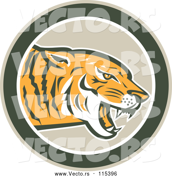 Vector of a Hungry Tiger Growling in a Green Circle