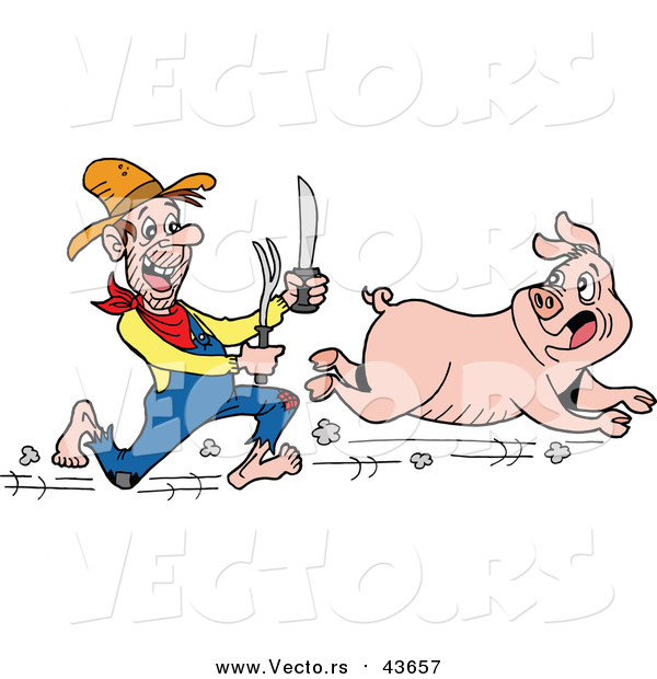 Vector of a Hungry White Hillbilly Man Chasing a Pig with a Knife and Fork