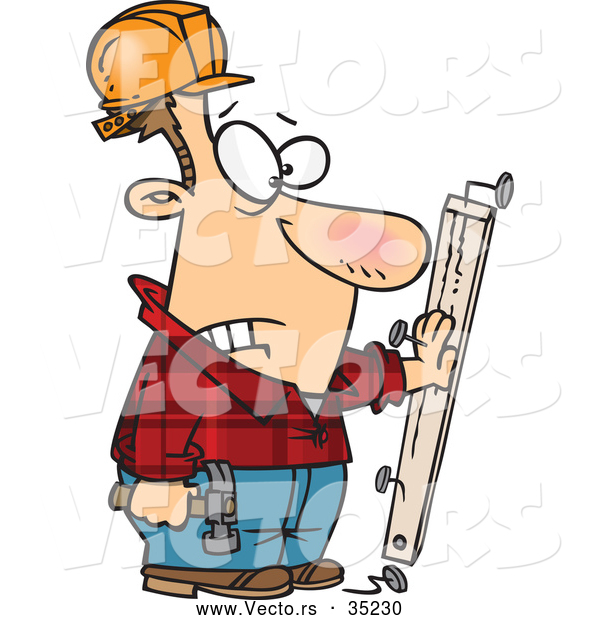 Vector of a Injured Cartoon Carpenter Looking at a Nail Through His Hand While Holding a Hammer and Wood Board