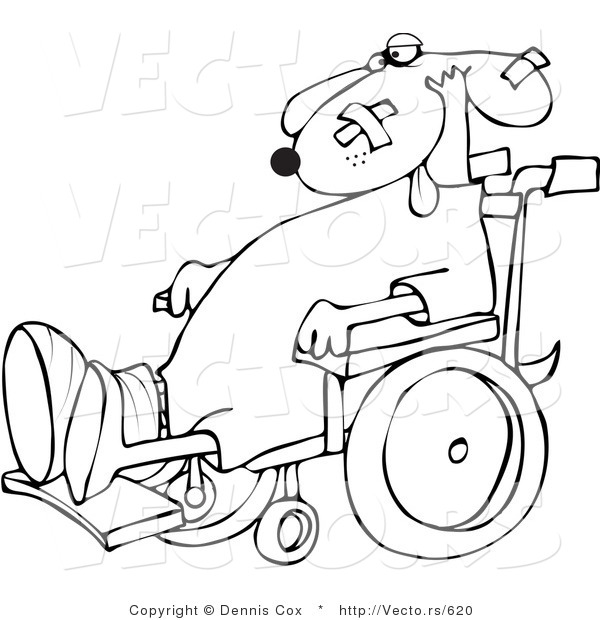 Vector of a Injured Cartoon Dog in a Wheelchair - Line Drawing