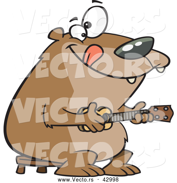 Vector of a Intelligent Cartoon Bear Playing a Ukelele