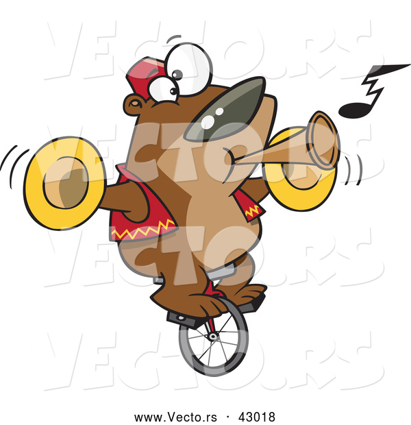 Vector of a Intelligent Cartoon Bear Playing Music While Riding a Unicycle