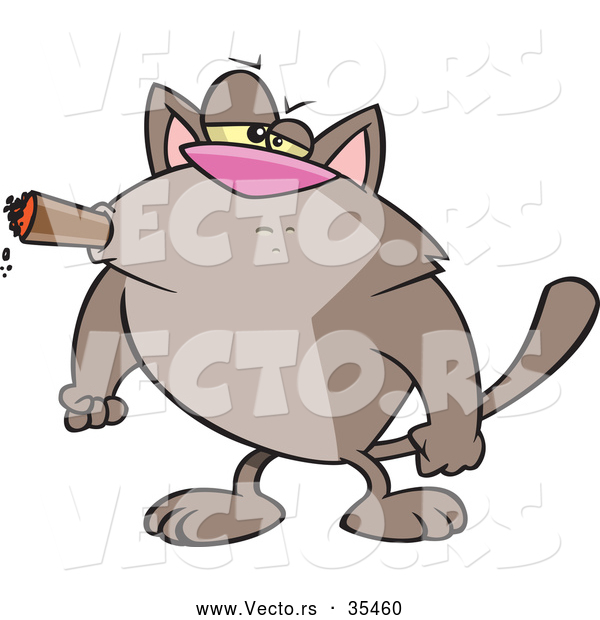 Vector of a Intimidating Cartoon Cat Smoking a Cigar with His Fists Balled