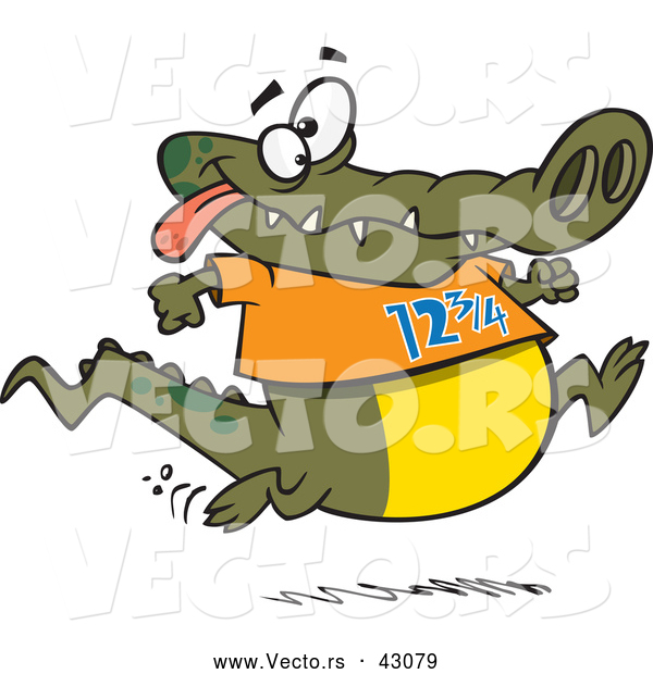 Vector of a Jogging Cartoon Alligator Smiling and Wearing the Number 12 3/4