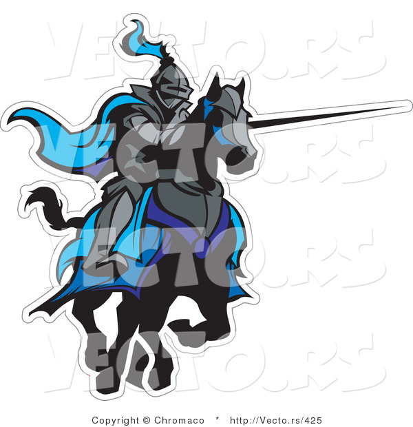 Vector of a Jousting Knight with Lance Extended Ready to Strike Opponent