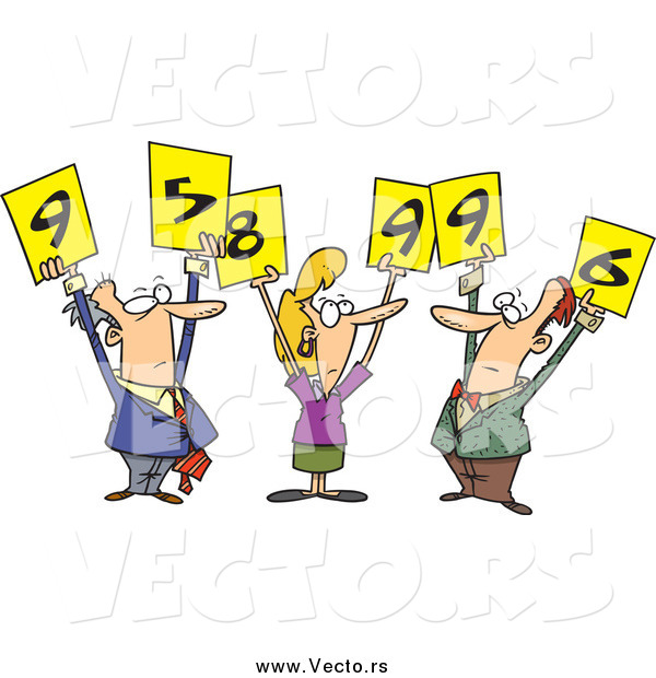 Vector of a Judges Holding up Numberred Signs