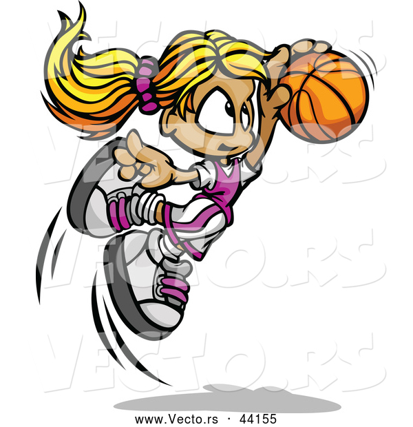 Vector of a Jumpling Cartoon Basketball Girl Player with the Ball