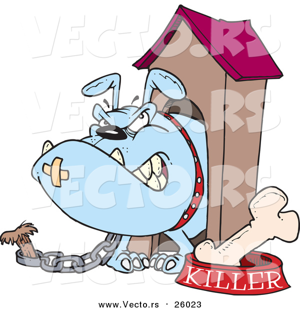 Vector of a Killer Dog Chained to House