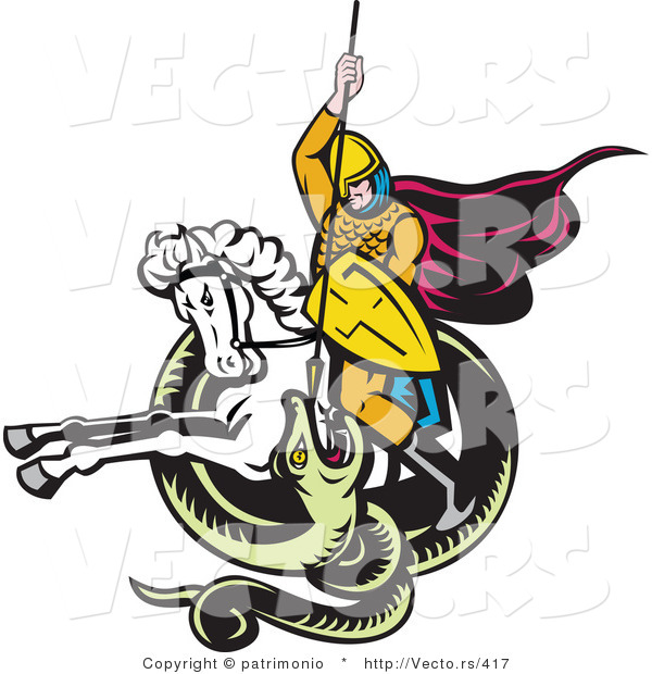 Vector of a Knight Attacking Snake Spear While on a White Horse - Retro Style