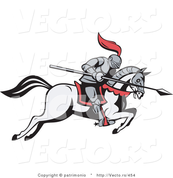 Vector of a Knight Charging Forward with a Spear on a Horse