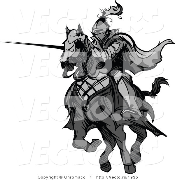 Vector of a Knight Charging on Horse While Aiming Lance - Grayscale