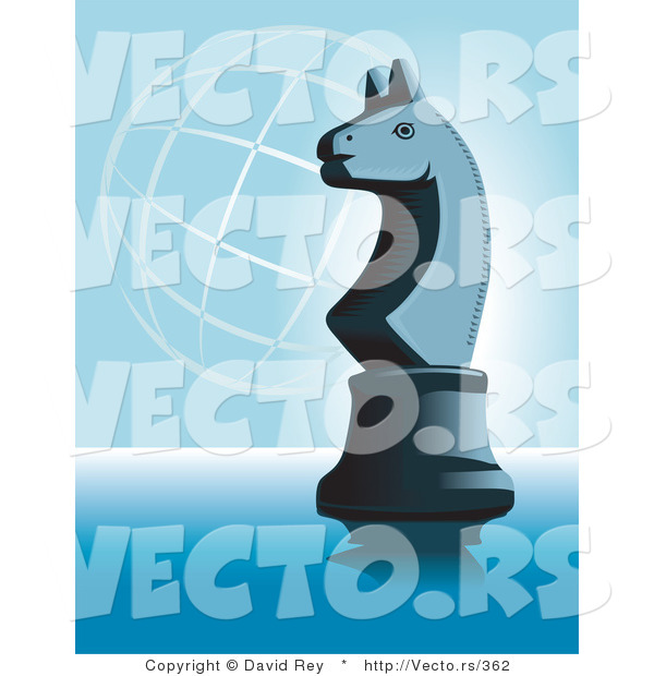 Vector of a Knight Chess Piece on Blue with a Wire Globe in Background