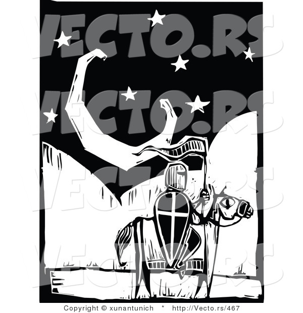 Vector of a Knight on a Horse Withing a Night Scene with Crecent Moon - Black and White Woodcut