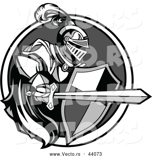 : Vector of a Knight with a Cape Shield and Sword Within a Circle Icon - Grayscale Version