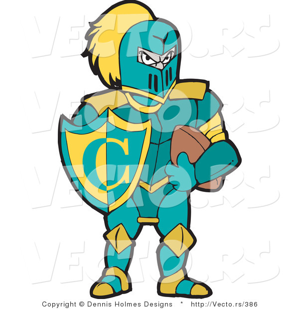 Vector of a Knight with Football and Shield