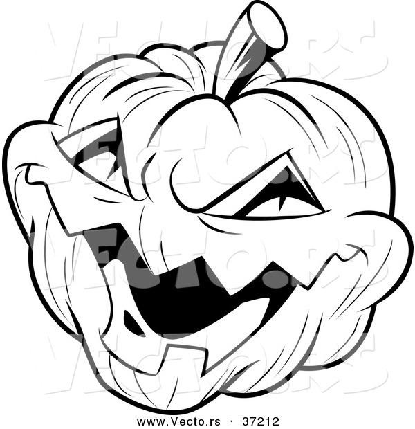 Vector of a Laughing Evil Jack-O-Lantern - Black and White Halloween Line Art