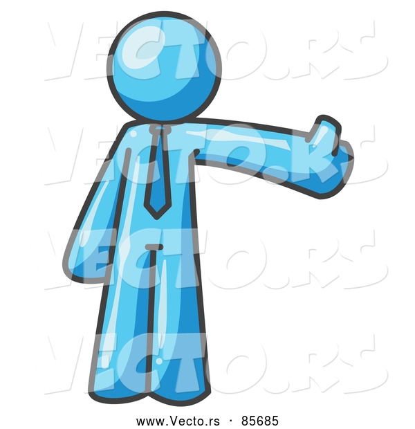 Vector of a Light Blue Business Character Giving Thumbs up