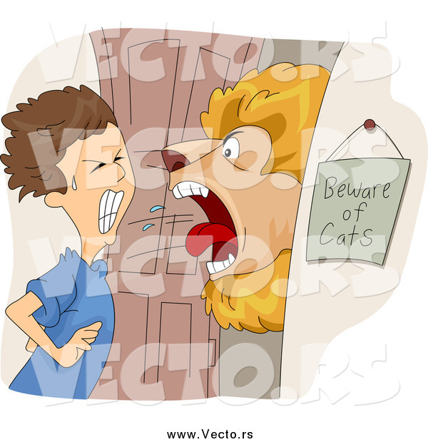 Vector of a Lion Roaring at a Boy at a Door