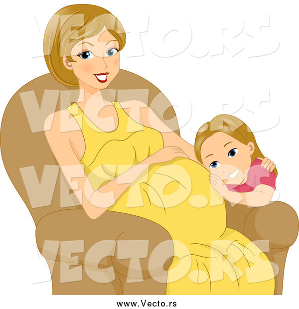Vector of a Little Girl Listening to Her Pregnant Moms Belly